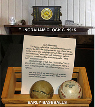 Early Baseballs and old clock
